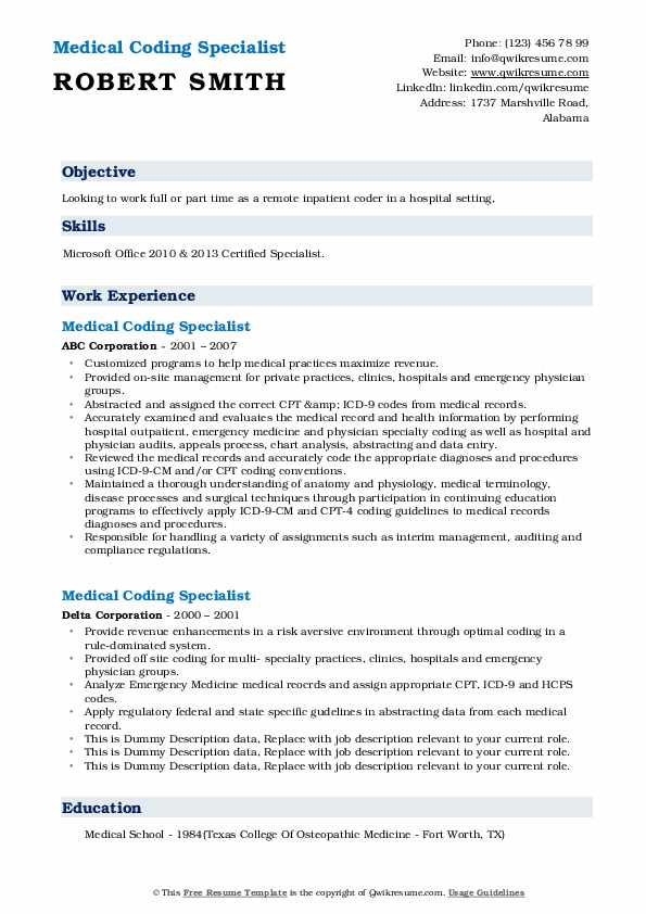 medical coding specialist resume samples qwikresume experience pdf service insurance tips Resume Medical Coding Experience Resume