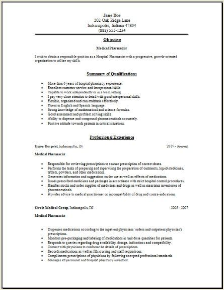 medical pharmacy resume2 resume objective sample no experience pharmacist control systems Resume Pharmacist Resume Objective