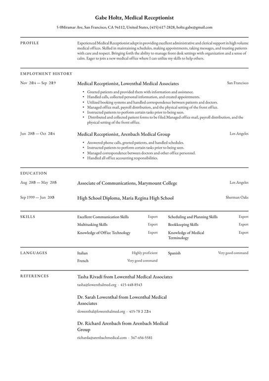 medical receptionist resume examples writing tips free guide front desk professional Resume Front Desk Medical Receptionist Resume