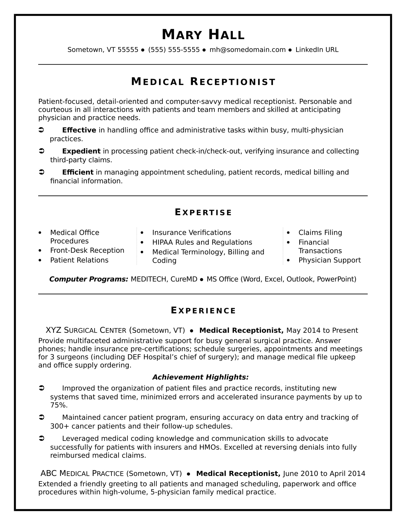 medical receptionist resume sample monster secretary duties software subject matter Resume Secretary Duties Resume