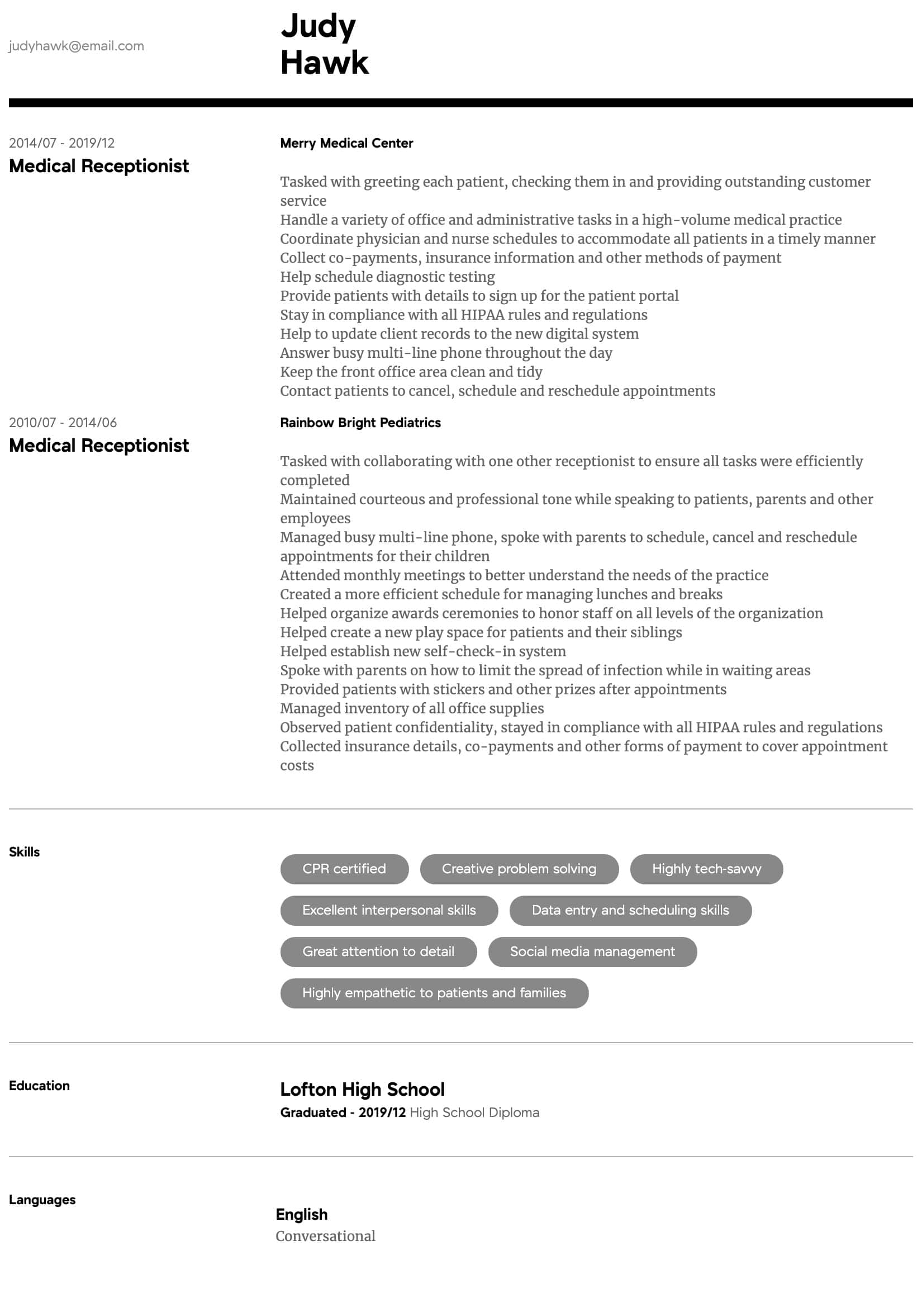 medical receptionist resume samples all experience levels front desk intermediate child Resume Front Desk Medical Receptionist Resume