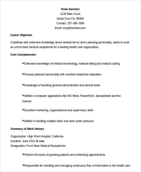 medical receptionist resume templates pdf free premium front desk objective for any type Resume Front Desk Medical Receptionist Resume