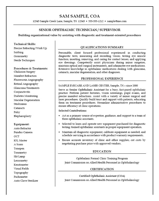 medical technician resume example sample exmed22 marine biologist busboy layouts that Resume Technician Resume Sample