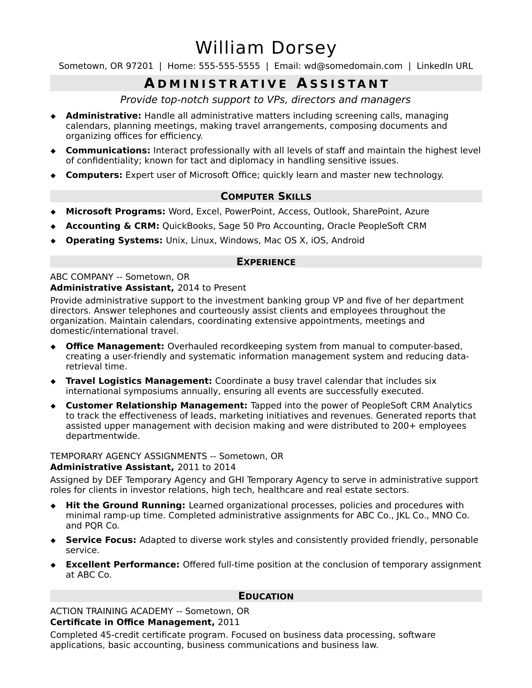 midlevel administrative assistant resume sample monster executive template hote albert Resume Executive Assistant Resume Template