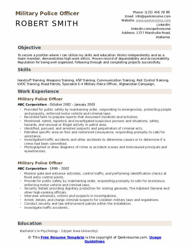 military police officer resume samples qwikresume free templates pdf dod template realtor Resume Free Military Resume Templates