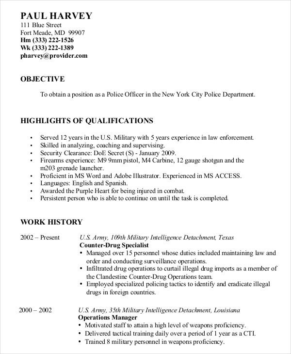 military resume free word pdf documents premium templates for members police enterprise Resume Military Resume Examples 2020
