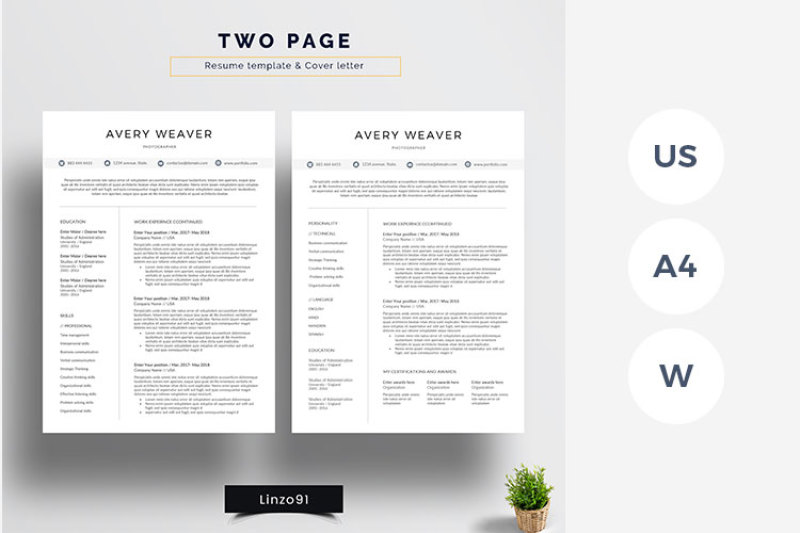 minimal and professional resume cv template for word two resum by linzo91 thehungryjpeg Resume Two Page Resume Template Word