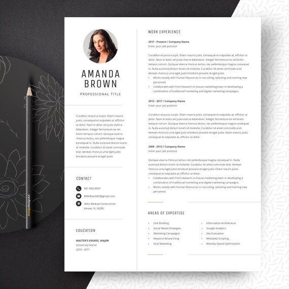 minimalist resume template for word project manager cv free etsy marketing templates Resume Marketing Resume Templates Free