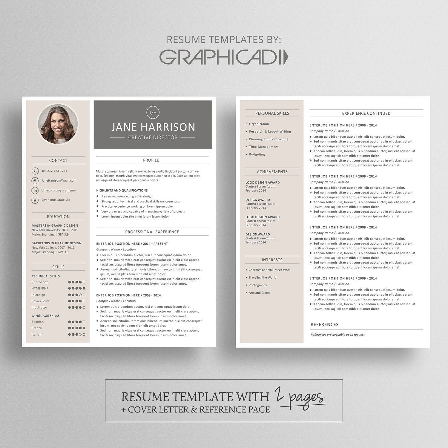 modern resume template cover letter reference for word two document templates free canva Resume Two Page Resume Template Word