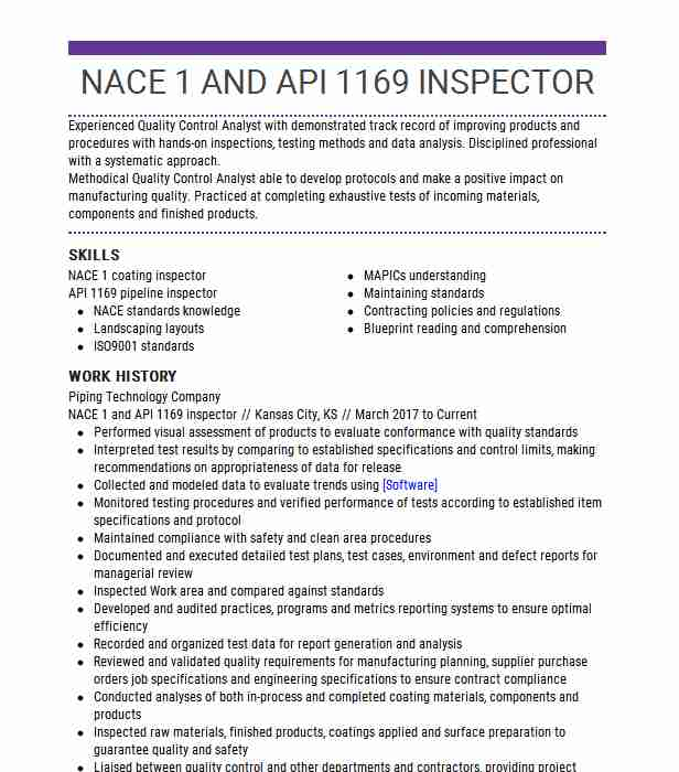 nace coating inspector resume example lower gate left leaf cairo healthcare professional Resume Coating Inspector Resume