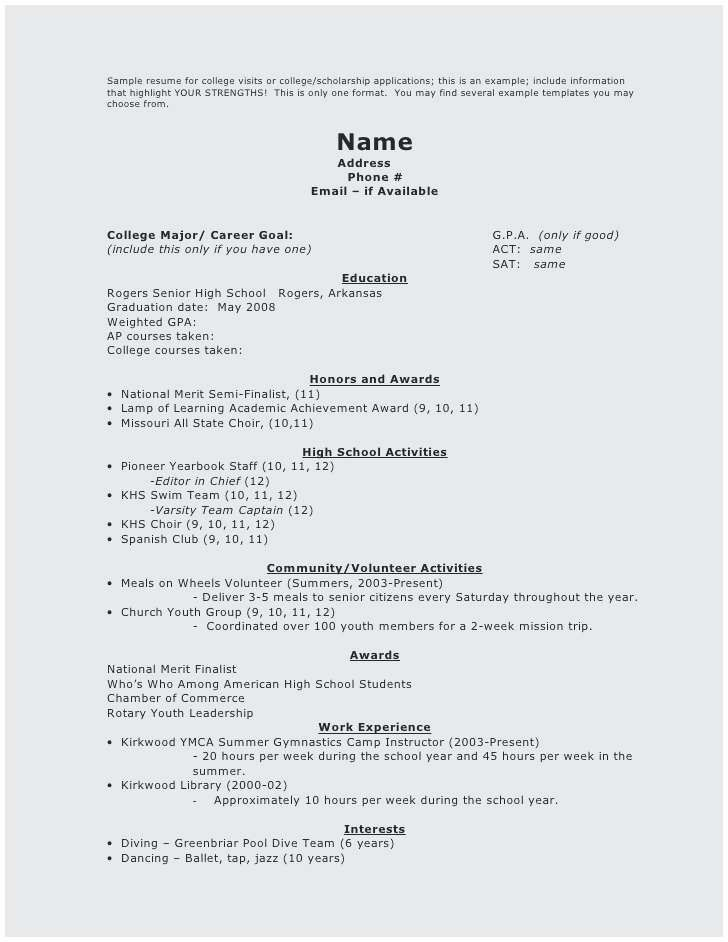 new gallery of resume sample for senior high school student check more at https template Resume High School Senior Scholarship Resume
