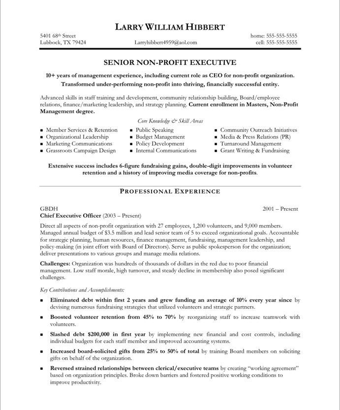 non profit executive page1 free resume samples template sample templates for volunteer Resume Resume For Volunteer Board Position