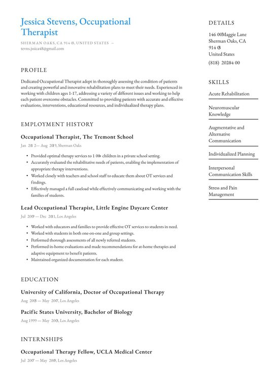 occupational therapist resume examples writing tips free therapy best for manager Resume Occupational Therapy Resume Examples