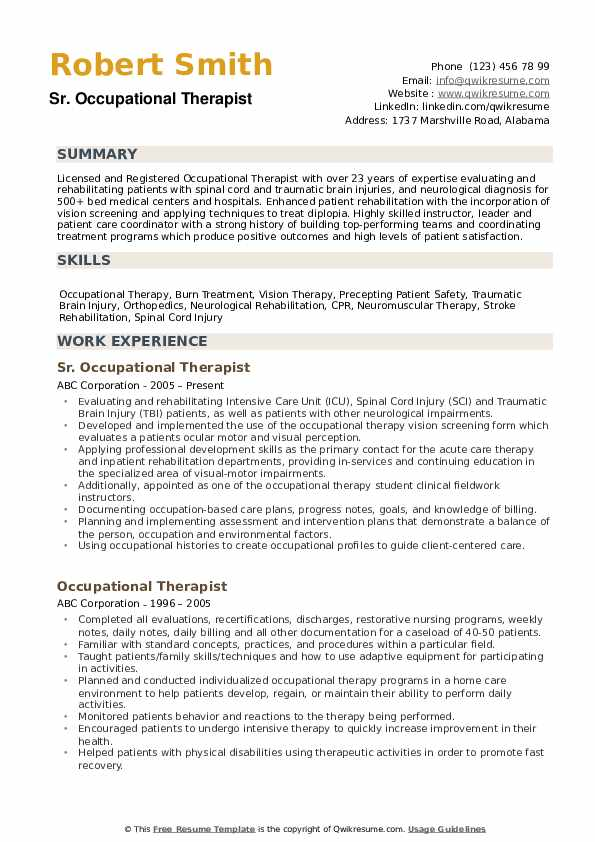 occupational therapist resume samples qwikresume therapy examples pdf casualty medical Resume Occupational Therapy Resume Examples