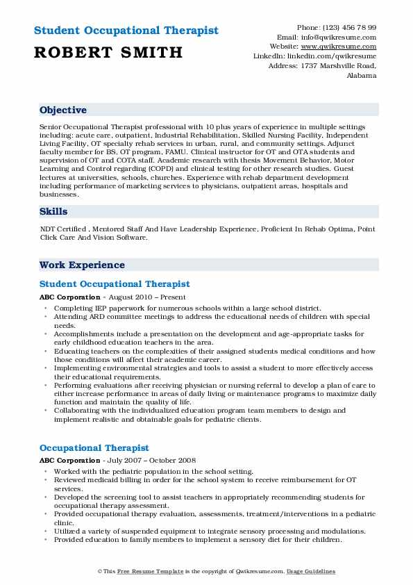 occupational therapist resume samples qwikresume therapy examples pdf summary of Resume Occupational Therapy Resume Examples