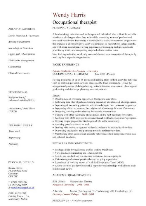occupational therapy resume samples all experience levels examples therapist intermediate Resume Occupational Therapy Resume Examples