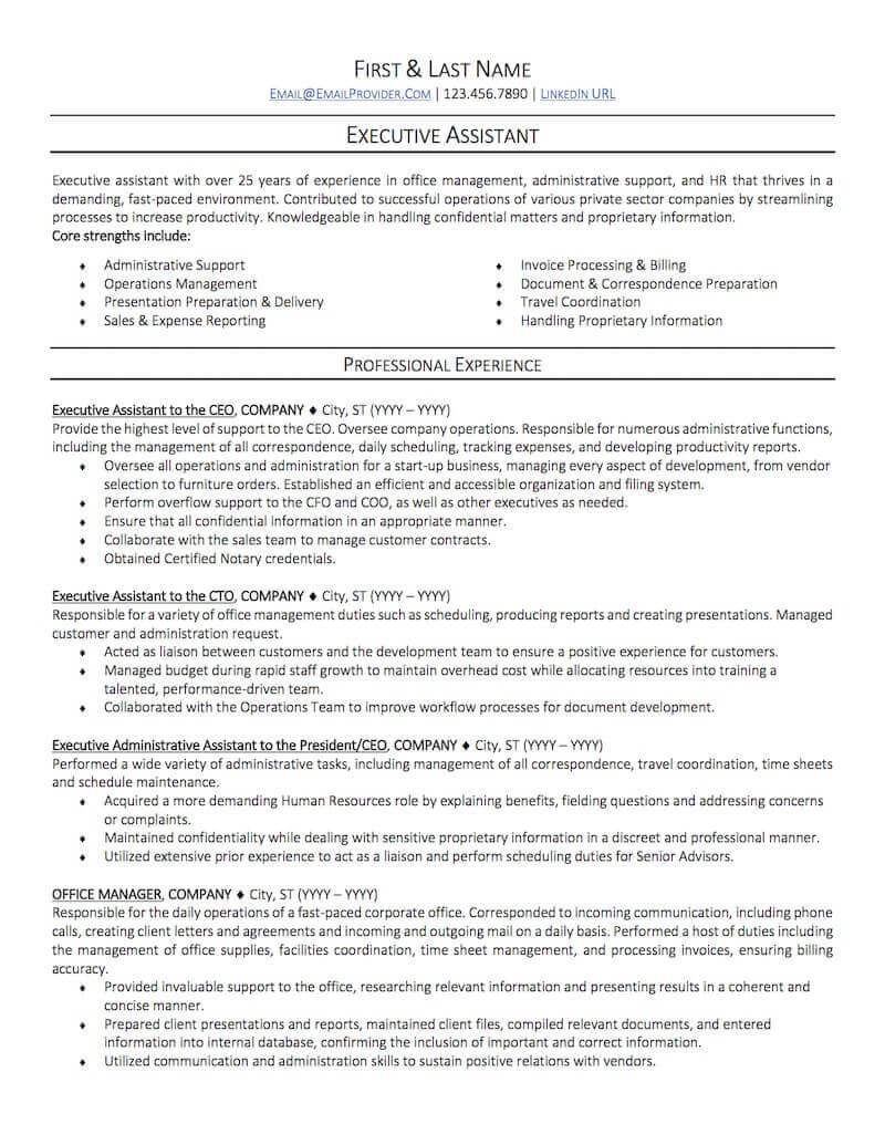office administrative assistant resume sample professional examples topresume executive Resume Executive Assistant Resume Template