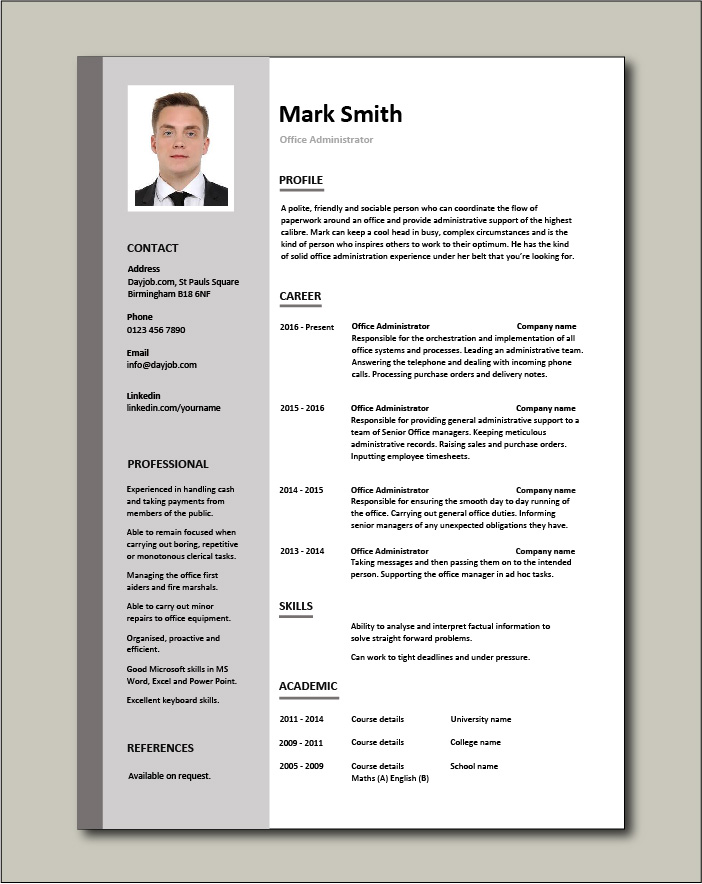 office administrator resume examples cv samples templates jobs duties administrative Resume Resume Format For Administration Job