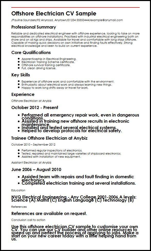 offshore electrician cv example myperfectcv oil rig resume template sample headline for Resume Oil And Gas Electrical Technician Resume