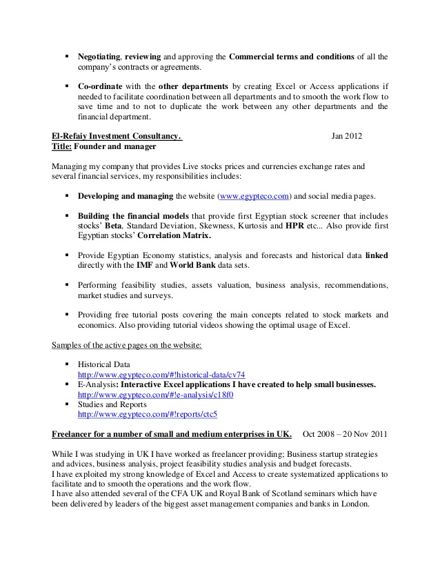 on resumes for printable and downloadable cust candidate resume mohamed el refaiycfa Resume Cfa Candidate On Resume