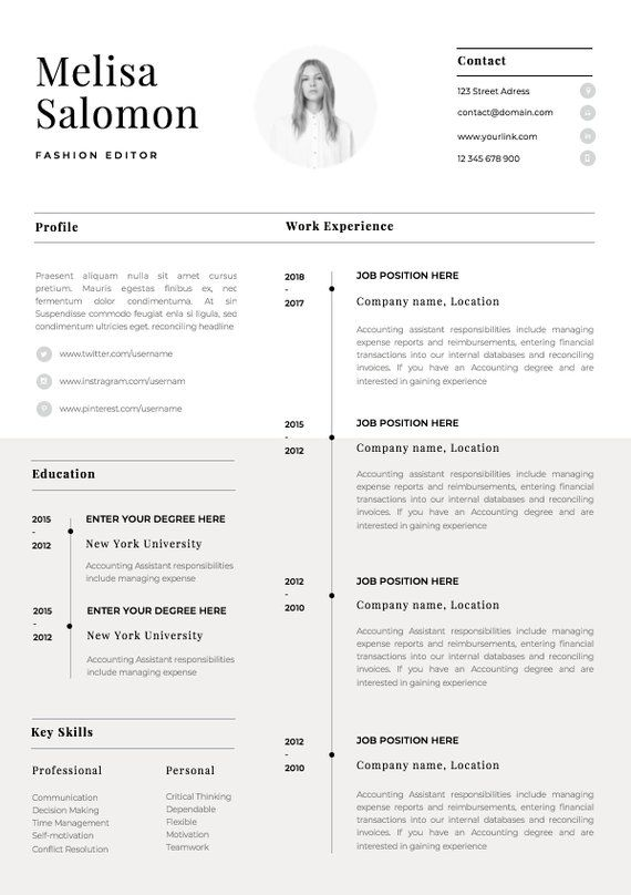 one resume template with photo for word cv etsy in simple student physical junior Resume One Page Student Resume
