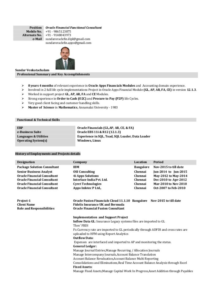 oracle financial with years months project accounting resume thumbnail skills and Resume Oracle Project Accounting Resume