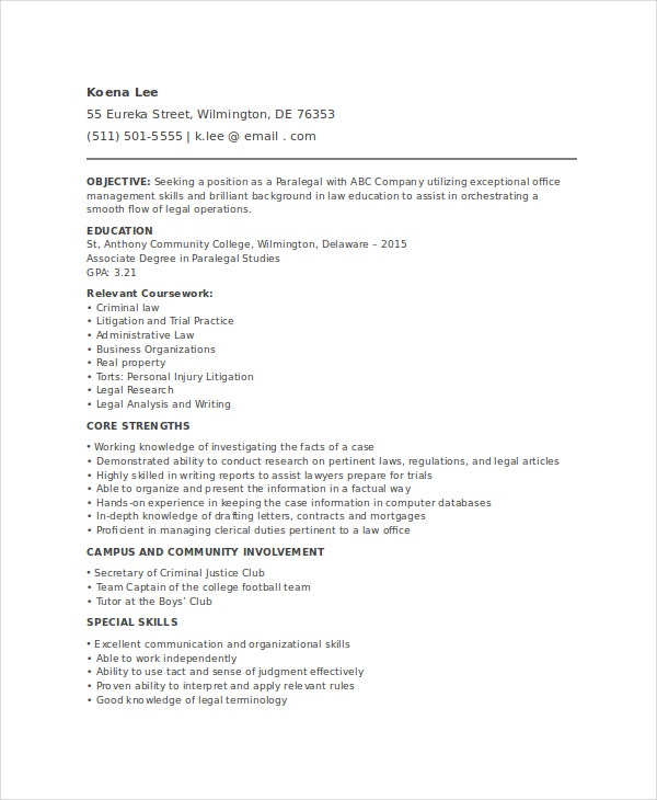 paralegal resume template free word pdf documents premium templates entry level legal pre Resume Entry Level Legal Resume