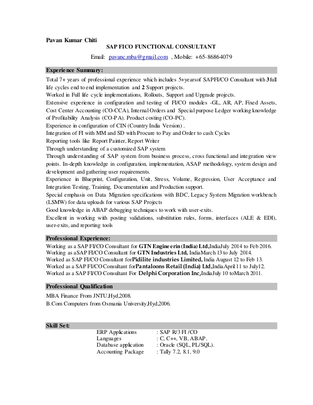 pavan sap fico resume consultant years experience simple college student template Resume Sap Fico Consultant Resume 3 Years Experience