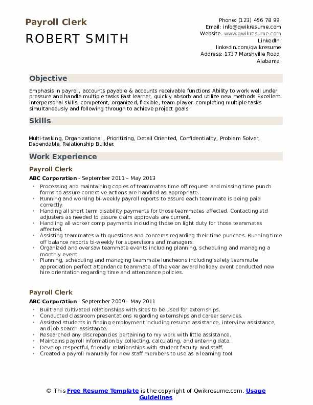 payroll clerk resume samples qwikresume duties and responsibilities pdf benefits Resume Payroll Duties And Responsibilities Resume