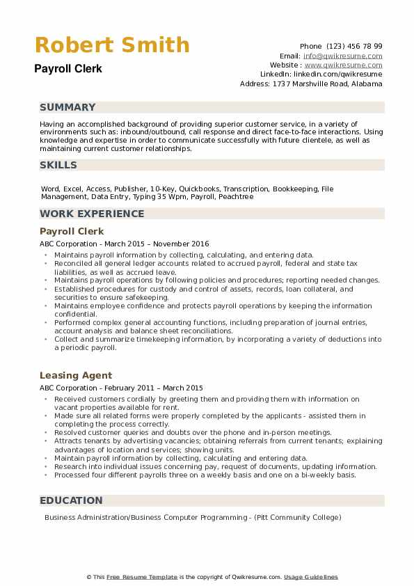 payroll clerk resume samples qwikresume duties and responsibilities pdf cal poly strong Resume Payroll Duties And Responsibilities Resume
