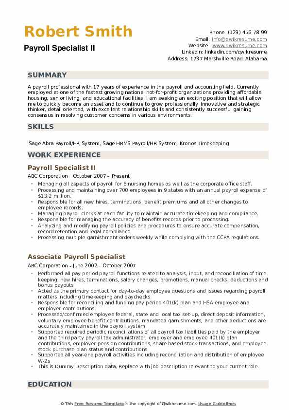 payroll specialist resume samples qwikresume duties and responsibilities pdf everest Resume Payroll Duties And Responsibilities Resume