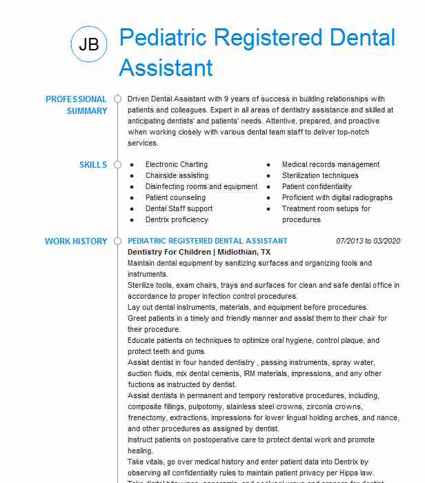 pediatric dental assistant resume example associates ltd killdeer north military examples Resume Pediatric Dental Assistant Resume