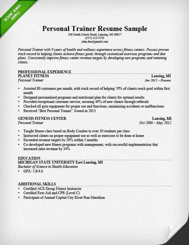 personal trainer resume sample teacher examples guided writing for gym job computer Resume Resume Objective For Gym Job