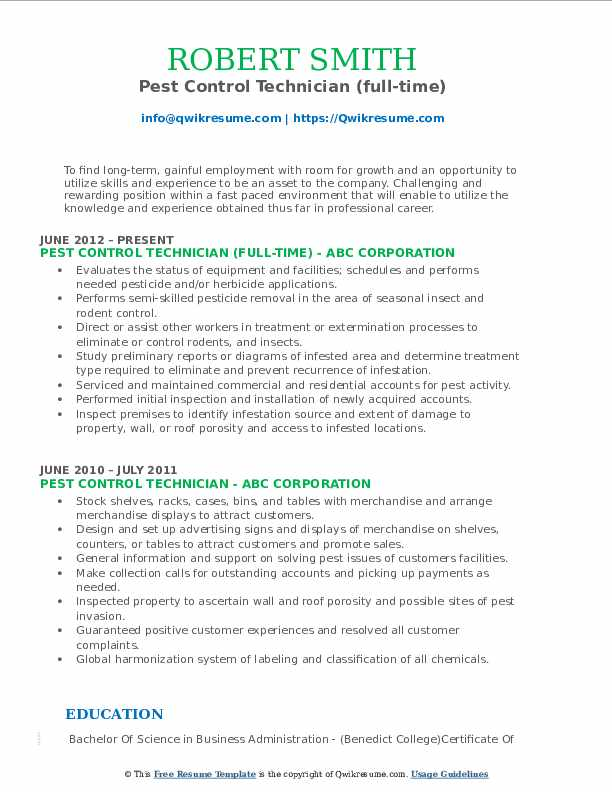 pest control technician resume samples qwikresume objective pdf summary examples entry Resume Pest Control Resume Objective