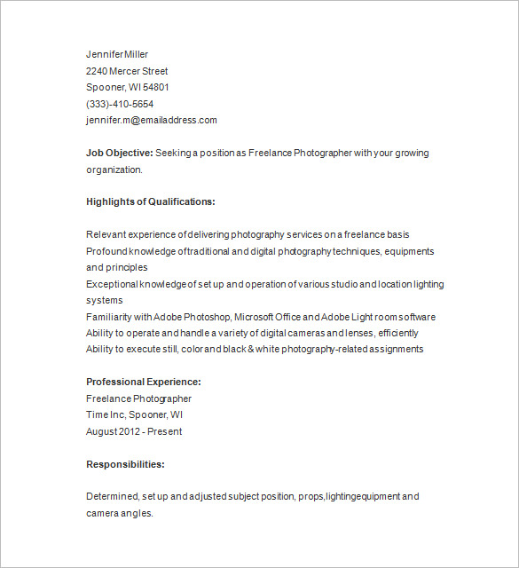 photography resume templates for printable and downloadable fust freelance sample Resume Freelance Photography Resume Sample