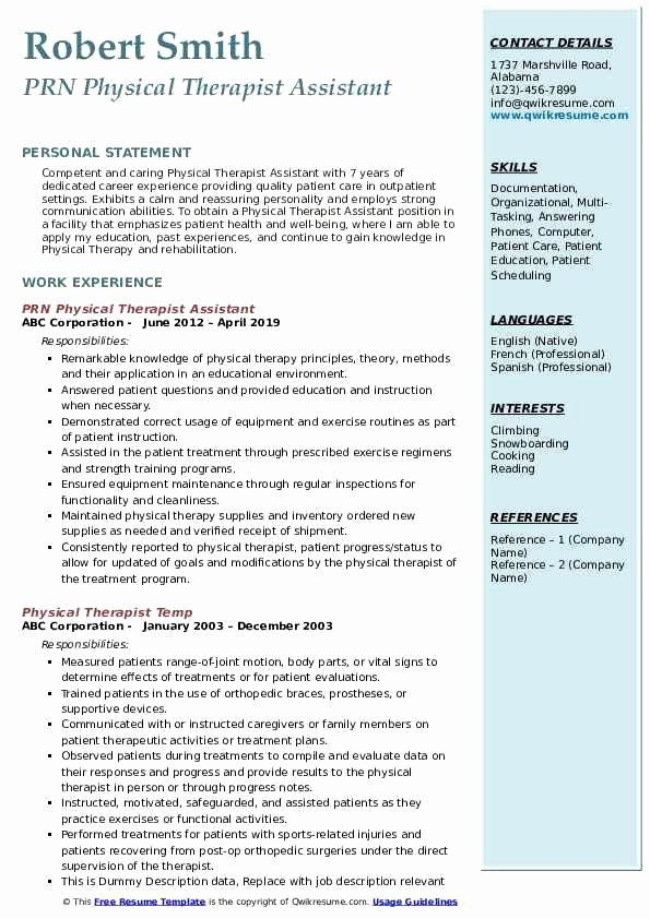 physical therapist assistant resume new examples inspirational internship human resources Resume Physical Therapist Assistant Resume Skills