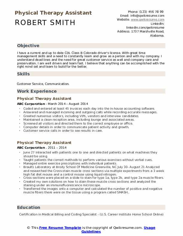 physical therapy assistant resume samples qwikresume therapist skills pdf developer Resume Physical Therapist Assistant Resume Skills