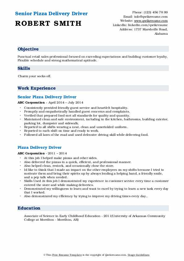 pizza delivery driver resume samples qwikresume food pdf billing and coding reference Resume Food Delivery Driver Resume