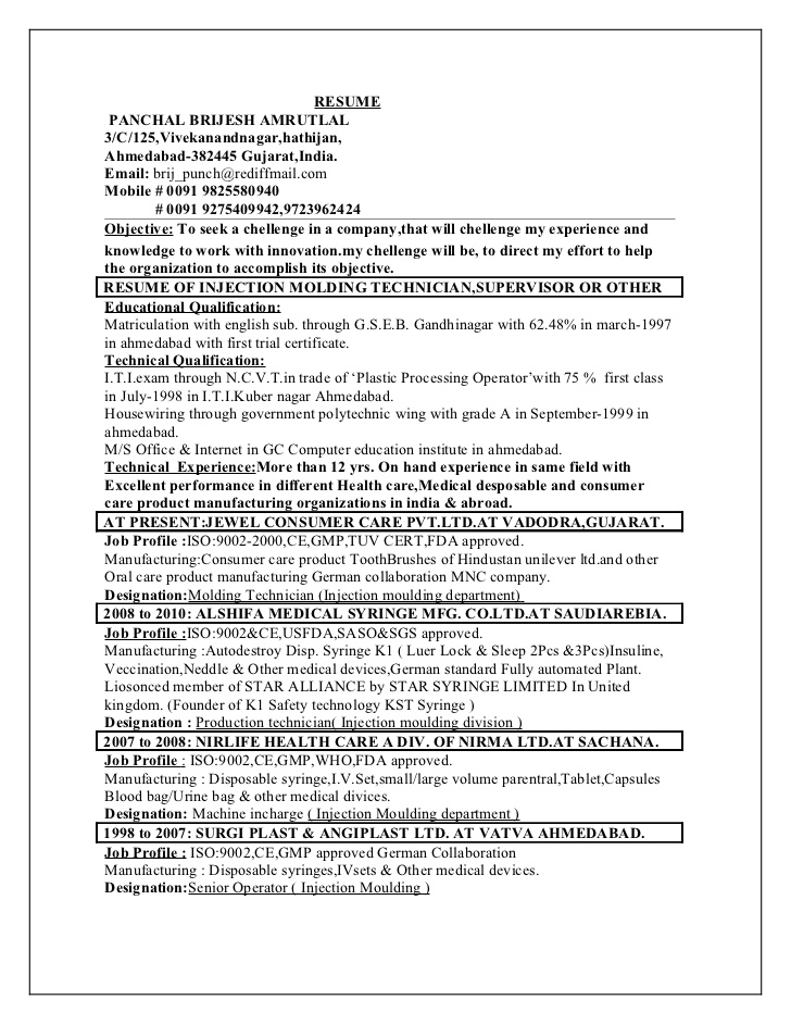plastic processing technician injection molding resume independent consultant sample for Resume Injection Molding Resume