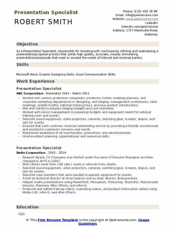 presentation specialist resume samples qwikresume business pdf direct care counselor job Resume Business Presentation Specialist Resume