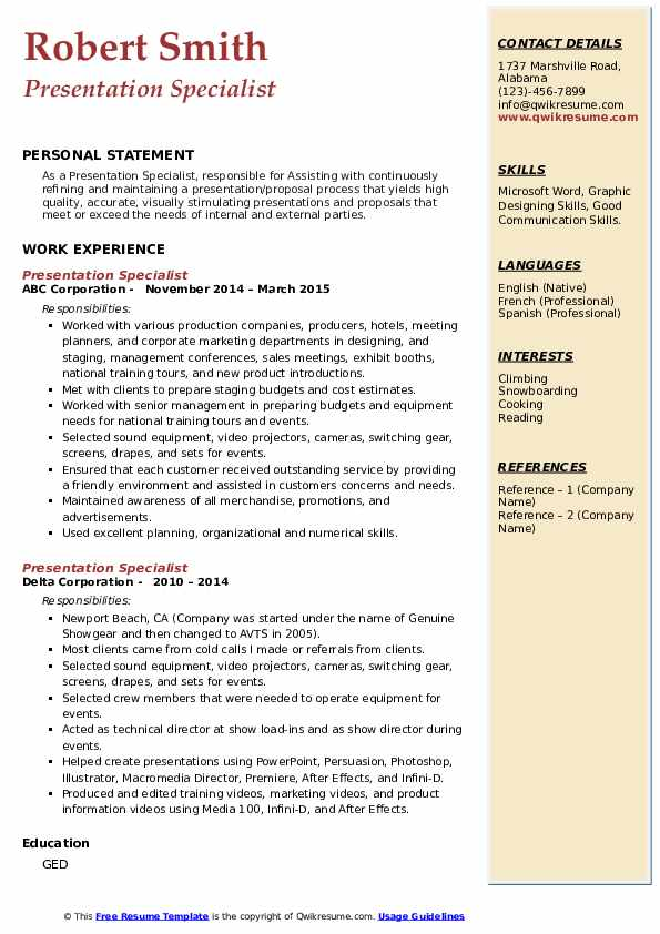 presentation specialist resume samples qwikresume business pdf for men project oriented Resume Business Presentation Specialist Resume