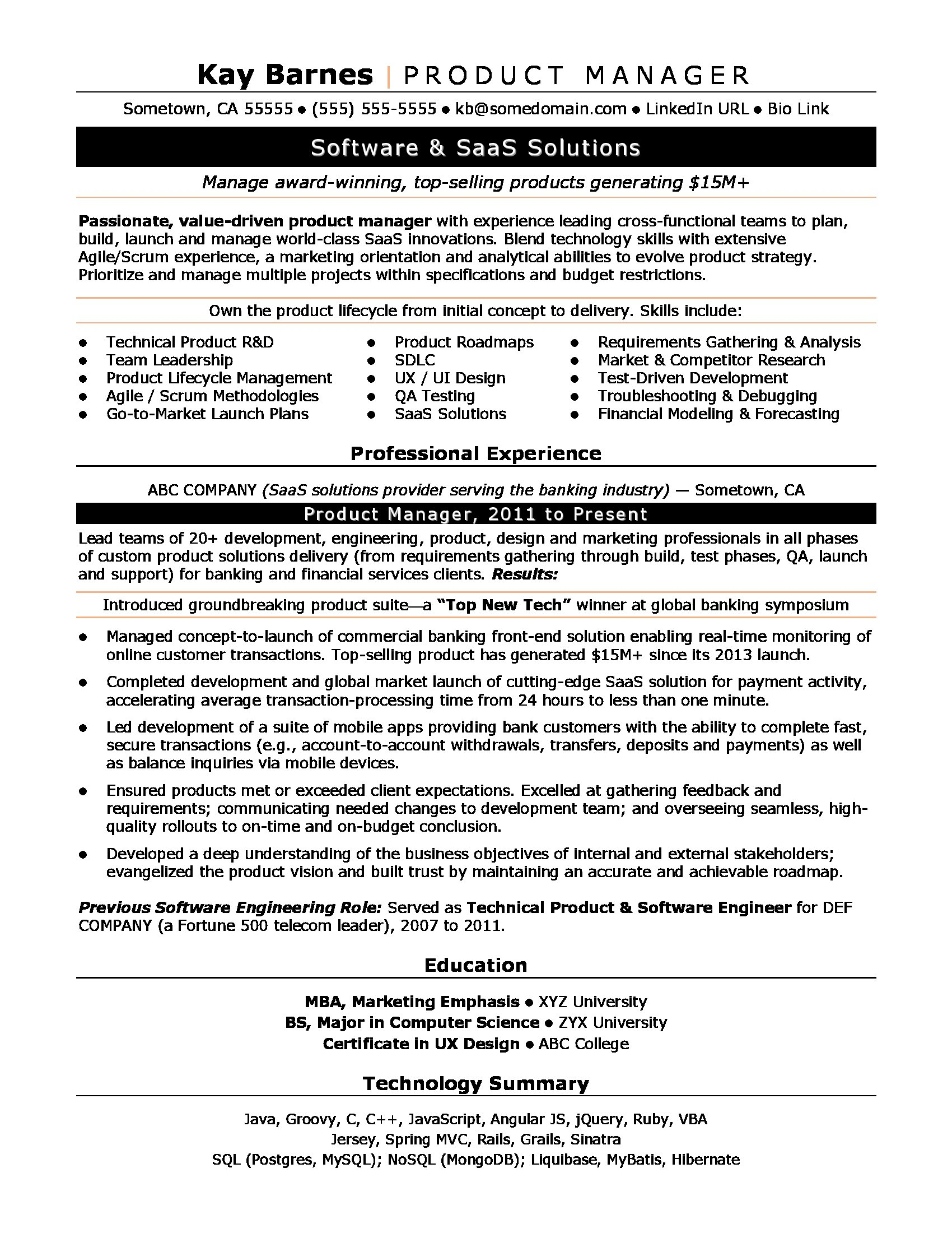 product manager resume sample monster agile program productmanager writing guide Resume Agile Program Manager Resume