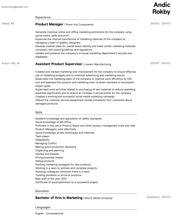 product manager resume samples all experience levels management template intermediate Resume Netbackup Administrator Resume