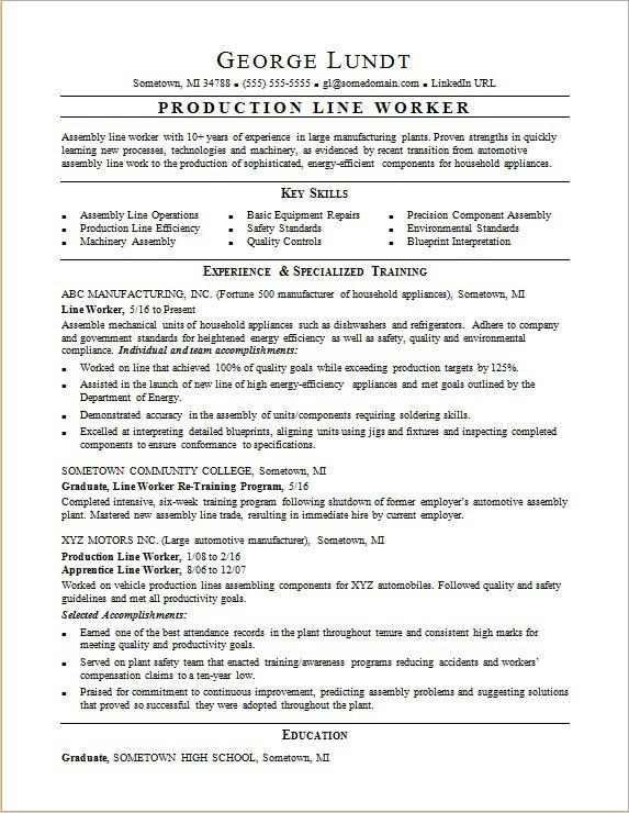 production line resume sample monster for factory job worker optimal login computer Resume Resume For Factory Job