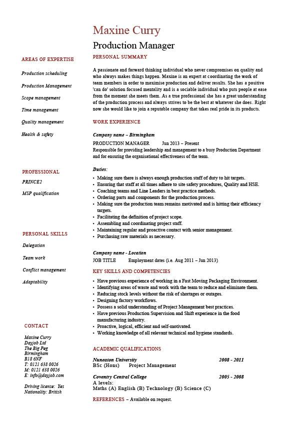 production manager resume samples examples template job description workflow pic ssis Resume Production Manager Resume
