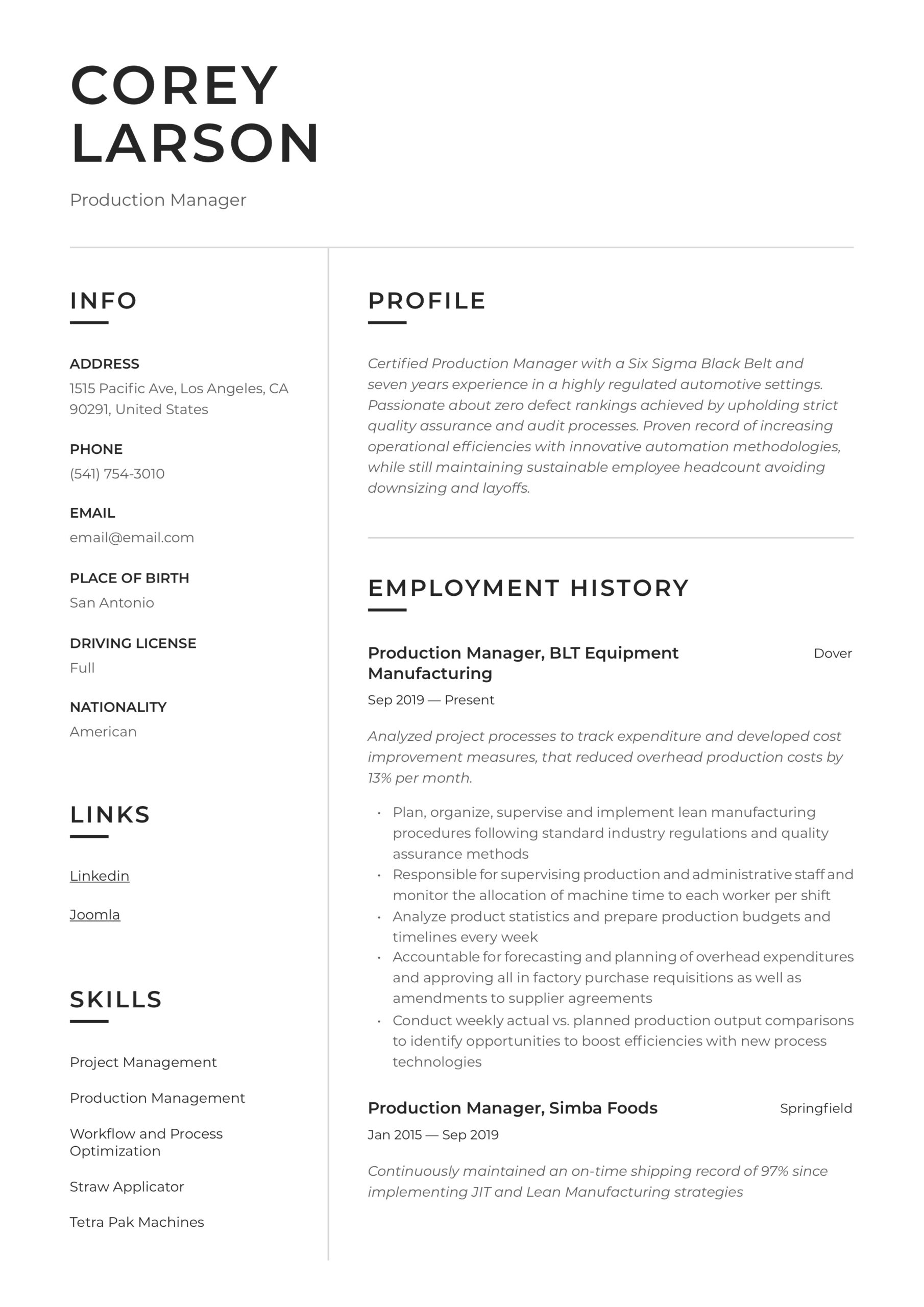 production manager resume writing guide templates sample for apartment maintenance Resume Production Manager Resume