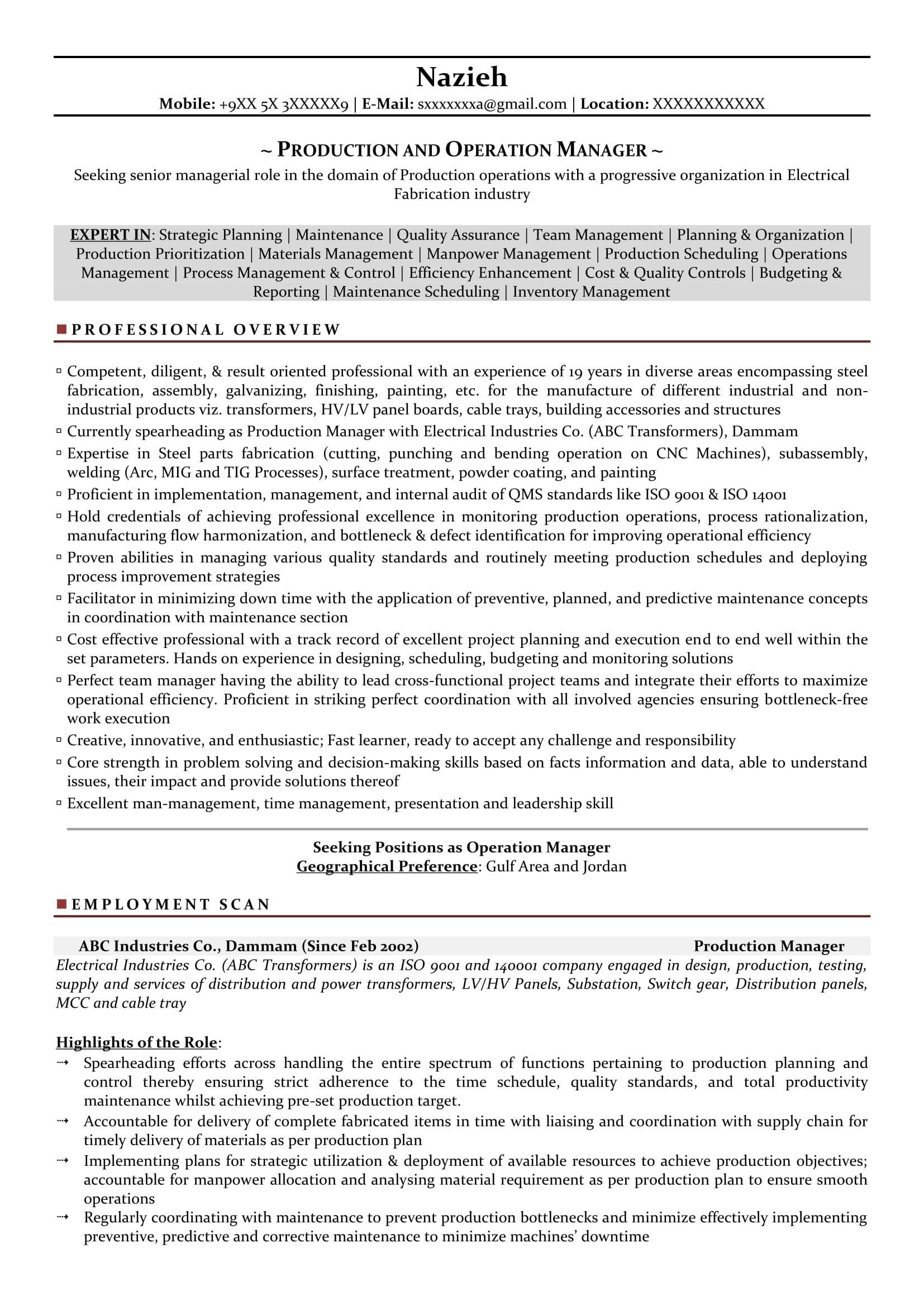 production manager sample resumes resume format templates skills housekeeping nhl example Resume Production Manager Resume