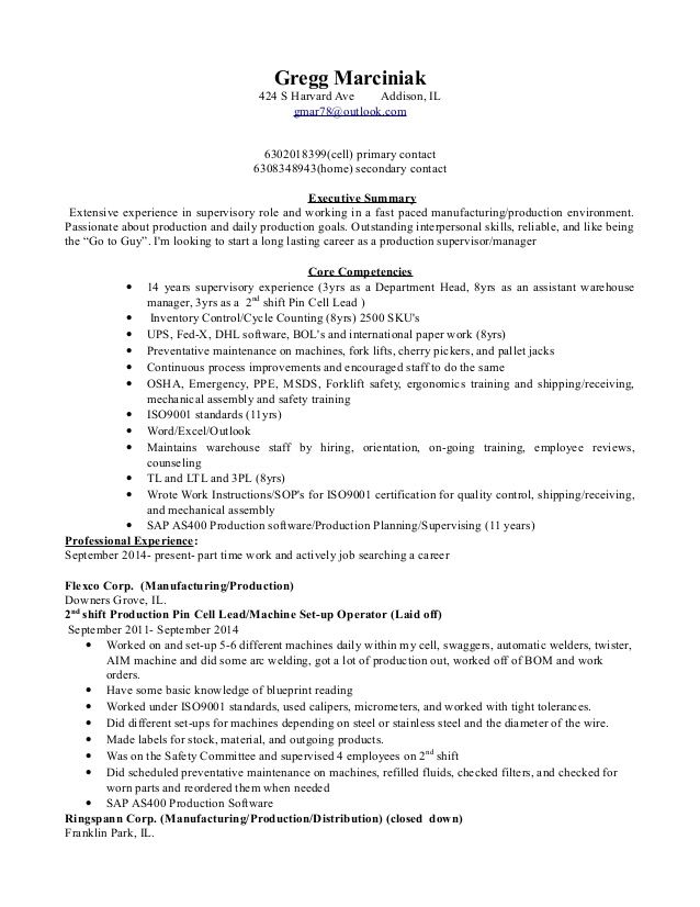 production supervisor resume manager sample for apartment maintenance technician another Resume Production Manager Resume
