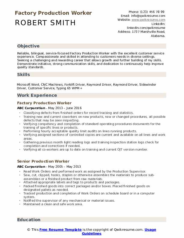production worker resume samples qwikresume factory job description pdf update fms Resume Factory Worker Job Description Resume