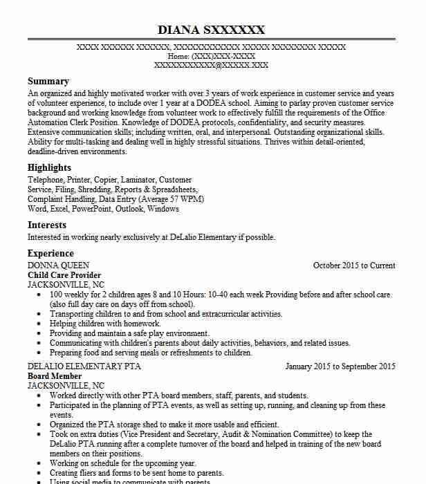 professional child care provider resume examples childcare livecareer daycare worker Resume Daycare Resume Objective